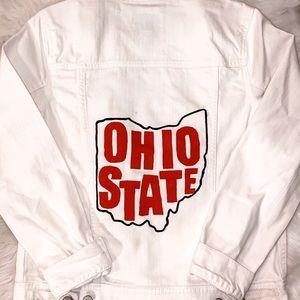 Hand Painted Ohio State White Denim Jacket